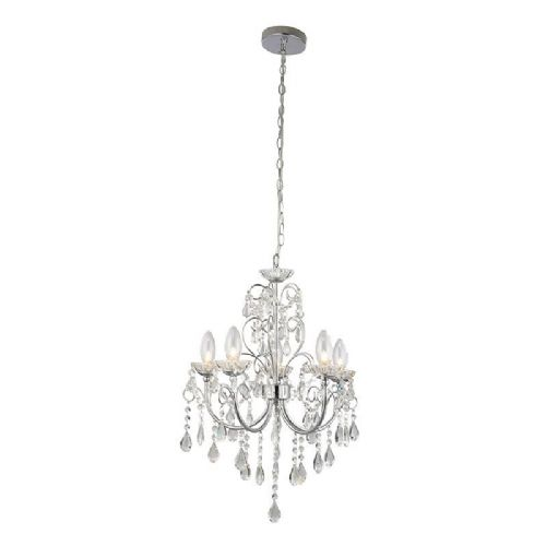 Clear crystal (k9) glass detail & chrome effect plate IP44 Bathroom Pendant Light 61384 by Endon